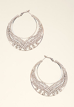 bebe Cut-Out & Rhinestone Hoop