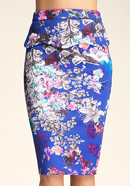 Print Midi Peplum Skirt at bebe