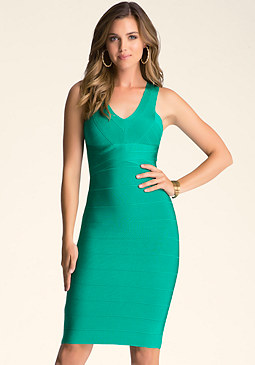bebe Double V-Neck Bandage Midi Dress