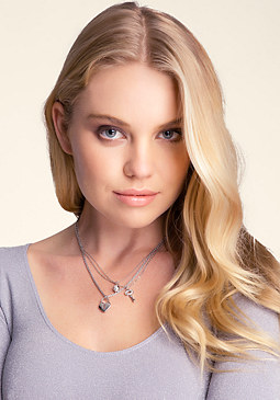 bebe Lock & Key Necklace Trio