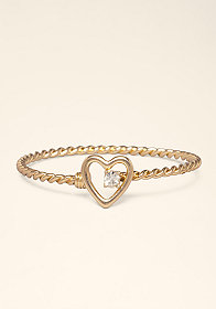 bebe Twisted Silver Open Bangle