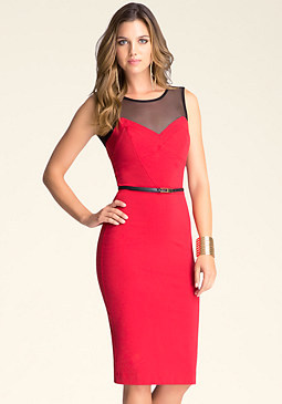 bebe Stella Midi Dress With Belt