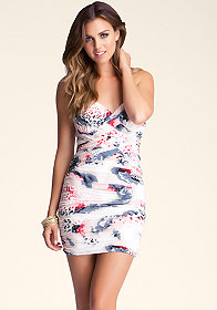 bebe Strapless Braid Mini Dress