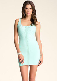 bebe Embellished Zip Dress