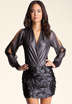 bebe Sexy Wrap Neck Bodysuit