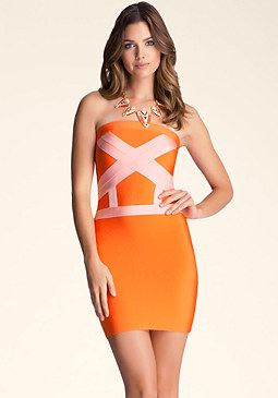 bebe Weave Band Strapless Dress