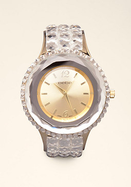 Glass Jewel Cuff Watch at bebe