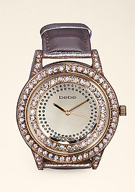 bebe Crystal Metallic Watch
