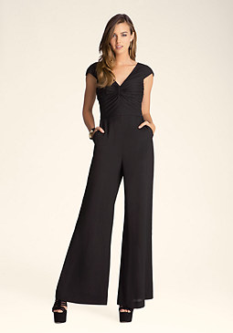bebe Pleated Front Bodice Jumpsuit