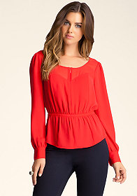bebe Zip-Up Chiffon Blouse