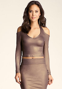 Shimmer Halter Neck Crop at bebe