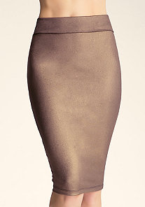 Shimmer Midi Skirt at bebe