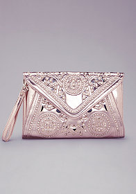 bebe Oversized Metallic Clutch