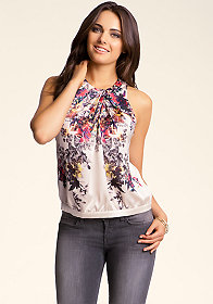 bebe Cinched & Sleeveless Blouse
