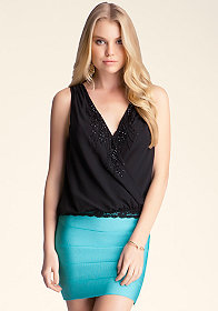 bebe Faux Wrap Lace Shirring Top
