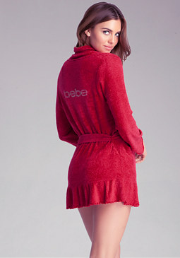 bebe Chenille Ruffled Robe