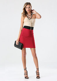 bebe Strapless Colorblock Dress