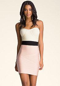 bebe Strapless Colorblock Dress