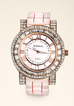 Bezel Gel Strap Watch at bebe