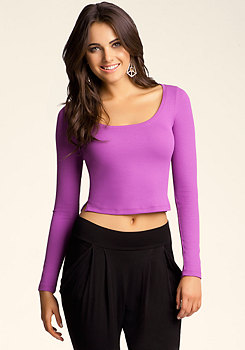 bebe Long Sleeved Crop Top