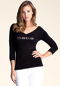 bebe Double V Neck Sweater