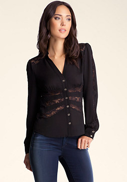 bebe Lace Panel Button Up Blouse