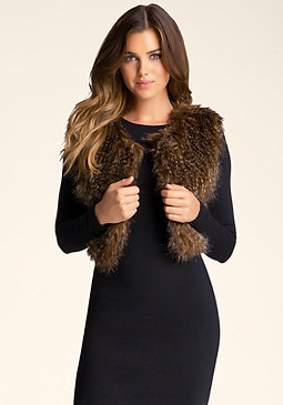 bebe Faux Fur Cropped Vest