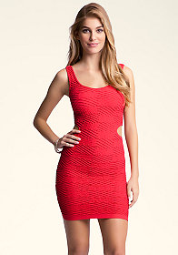 bebe Diamond Ribbed Cutout Dress