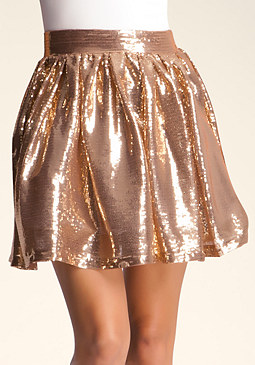 bebe Sequin Pleated Skirt������
