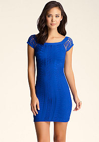 Mix Stitch Mini Dress at bebe