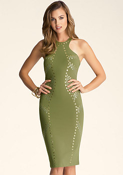bebe Racerfront Studded Dress