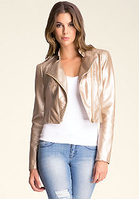 bebe Metallic Leatherette Jacket