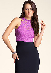 bebe Mock Neck Lace Crop Top