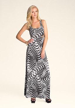 Slash Printed Maxi Dress at bebe