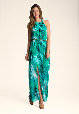 PRINT HALTER MAXI DRESS at bebe