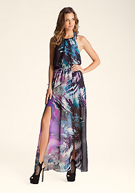bebe Halter Slit Maxi Dress