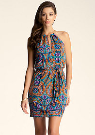 bebe Back Open Halter Dress