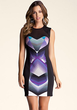 bebe Colorblock Print Mesh Dress