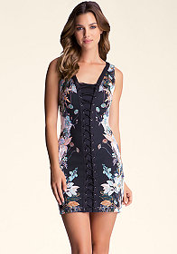 bebe Lace Up Front & Back Dress