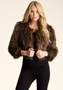 bebe Crop Faux Fur Jacket