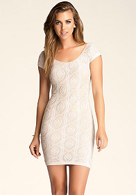bebe Mimi Lace Overlay Dress