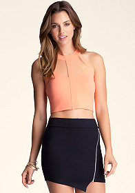 bebe Mesh & Yoke Halter Crop Top