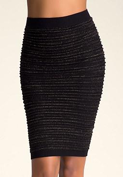 bebe High-Waist Lurex Skirt