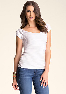 Short Sleeve Shimmer Top at bebe