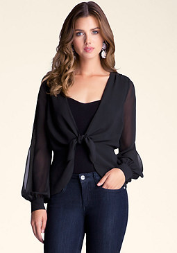 Tie Front Peplum Shirt at bebe