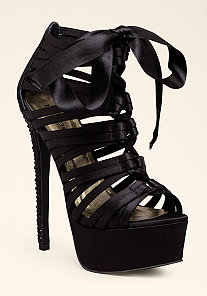 Satin Lace-Up Sandal at bebe