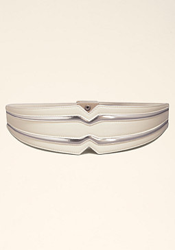 bebe Metallic Stretch Belt �