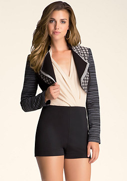 bebe Cropped Long Sleeve Jacket
