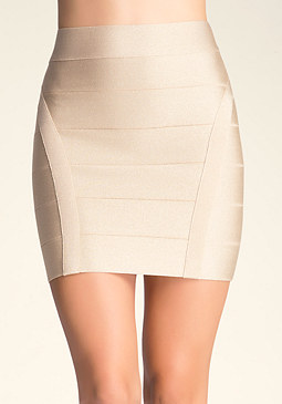 bebe Banded Metallic Mini Skirt