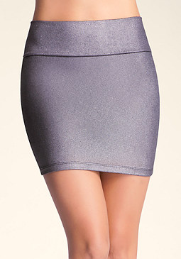 Shimmer Waist Mini Skirt at bebe